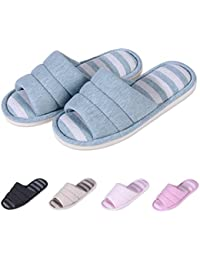 Women's Soft Indoor Slippers Open Toe Cotton Memory Foam Slip on Home Shoes House Slippers
