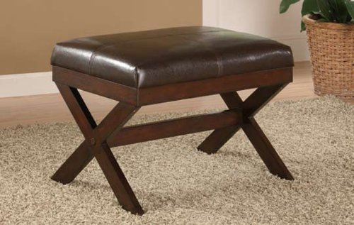 X-bench in Espresso Pu Bycast Leather w/ Wood Legs - Bycast Leather Bench