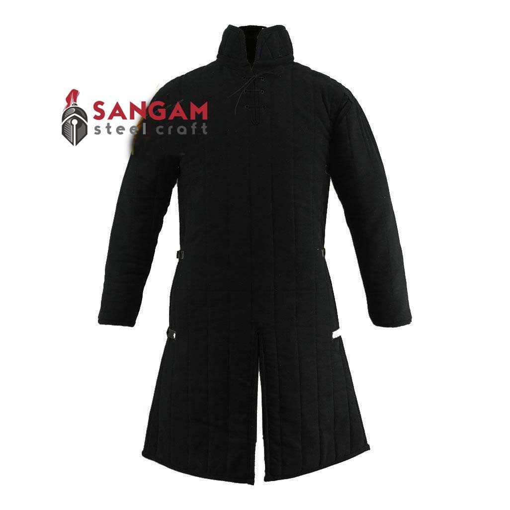 Medieval Gambeson Thick Padded Long Coat Aketon Jacket Armor Costume Cotton Fabrics by Sangamsteelcraft