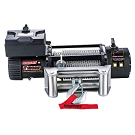 Tungsten4x4 Electric 12000 lbs Off Load Capacity Electric Winch with Steel Rope, Roller Fairlead and Both Wireless Handheld Remote
