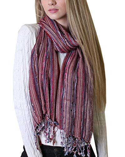 Women's Festival Bliss Shimmer Scarf Boho Chic Shawl with Tassels (Red)