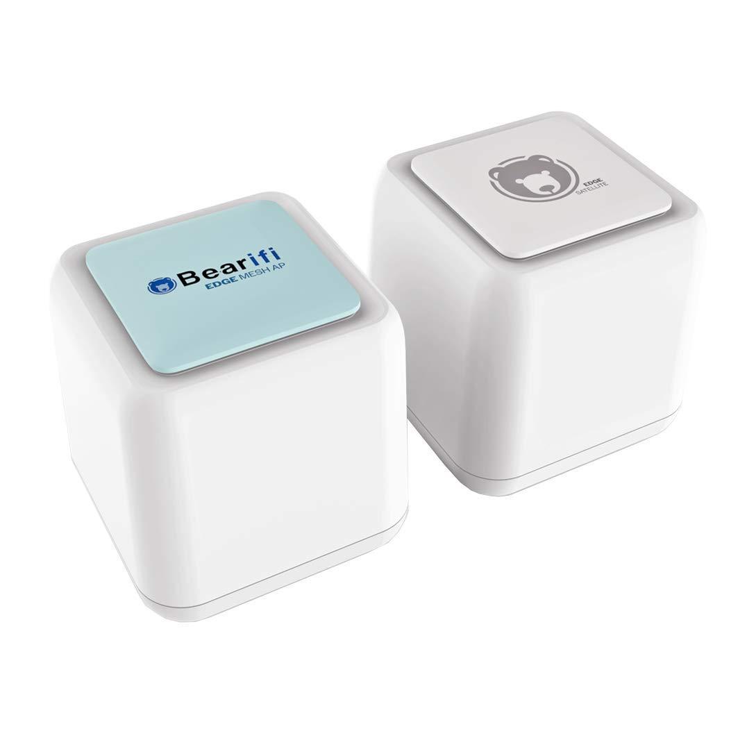 Bearifi BearExtender Edge Mesh 802.11ac Wi-Fi System with BearExtender Range Boost Technology AC1200 Dual Band 2.4Ghz + 5Ghz Smart Wi-Fi System with Gigabit Port (1 Mesh Router + 1 Satellite) by BearExtender