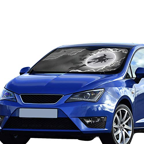 GIRLOS Best Windshield Sun Shade Scary Halloween Witch Bat Foldable Sunshade for Maximum Uv and Sun Protection Keep Your Vehicle Cool 55 X 30inch (140cm X 75cm) Car Winsheild Sun Shade -