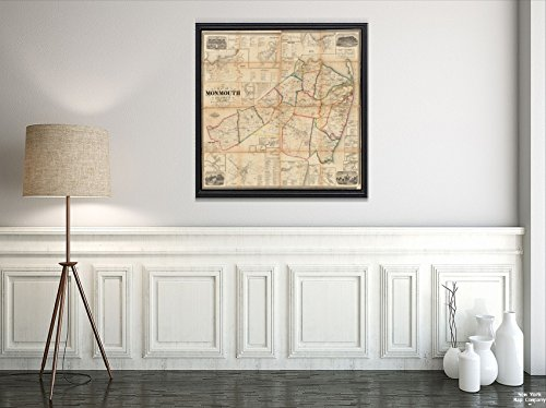 - 1861 Map New Jersey|Monmouth|of Monmouth County, New Jersey Relief Shown by hachures. Includes n|Vintage Fine Art Reproduction|Ready to Frame