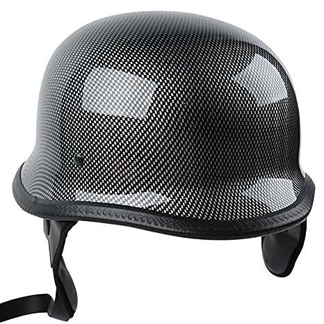 Carbon Fiber Motorcycle Helmets >> Tcmt Dot Adult German Style Carbon Fiber Wwii Black Half Helmet Motorcycle Chopper Cruiser Biker Helmet L