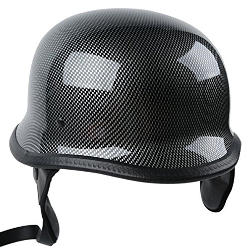 TCMT Dot Adult German Style Carbon Fiber WWII Black Half Helmet Motorcycle Chopper Cruiser Biker Helmet L