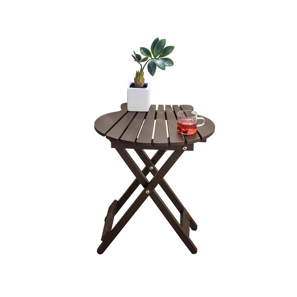 YQQ シンプルなフラワーポットシェルフ バルコニー 屋外 無垢材折り畳みテーブル ポータブルデスク ラウンジ コー\u200b\u200bヒーテーブル ティーテーブル 防水 強い (色 : Brown) B07HDXXZBD Brown Brown