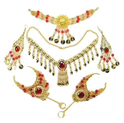 (Headpiece Necklace Earrings Bracelets Jewelry Women Belly Dance Accessories Set)