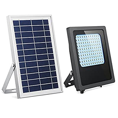 Solar Powered Led Flood Light,HiJi 120Leds 800Lumen IP65 Waterproof Outdoor Security Flood Light Fixture for Flag Pole, Sign, Garden, Farm, Shed, Boat, Camping, Garage,Auto-on/off Dusk to Dawn