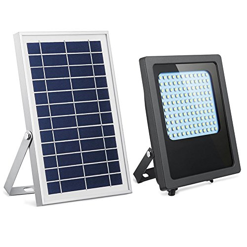 Solar Powered Light Fixture (Solar Powered Led Flood Light,HiJi 120Leds 800Lumen IP65 Waterproof Outdoor Security Flood Light Fixture for Flag Pole, Sign, Garden, Farm, Shed, Boat, Camping, Garage,Auto-on/off Dusk to Dawn)
