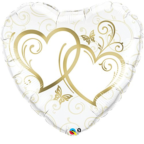 - Qualatex 36 Inch Heart-Shaped Entwined Hearts Foil Wedding/Anniversary Balloon (One Size) (White/Gold)