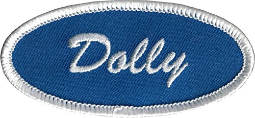 - Dolly Name Tag - White on Blue Background - Embroidered Iron On or Sew On Patch