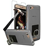 BLU Energy X 2 Case with Phone Ring Stand Holder + Screen Protector, Gzerma Easy Grip Design Durable Flex Soft Shock-Absorption Bumper Case Cover with 360 Rotation Kickstand and Bubble Free Protective Film for BLU Energy X 2 (Gray)