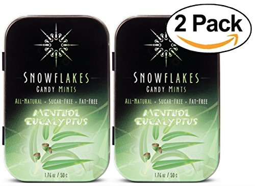 Menthol Eucalyptus Xylitol Candy Chips (2-Pack) - Snowflakes (2) 50g Tins - Handcrafted with ONLY 2 Ingredients | Diabetic-friendly, Non-GMO, Vegan, GF & Kosher | Purest sugar-free candy in the world!