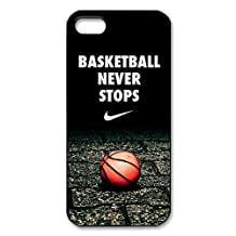 Customize Basketball Never Stops Unique Durable Back Cover Case for iPhone 5 5s