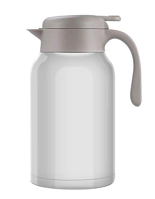 Luvan 2L 18/10 Jarra Térmica Termo, Anti-Goteo, Anti-Quemaduras, La cafetera de Aislamiento, café, (Blanco)