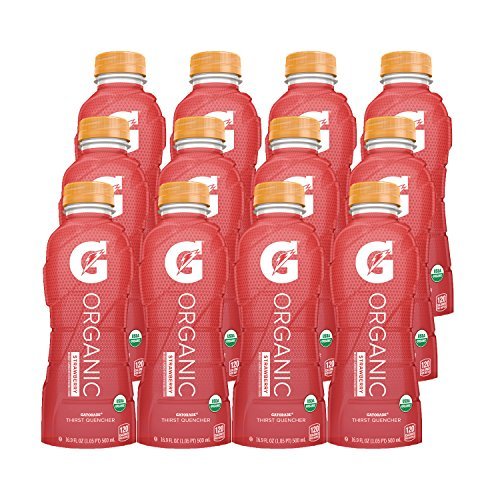 - G Organic, Strawberry, Gatorade Sports Drink, USDA Certified Organic, 16.9 Fl Oz. (Pack of 12)