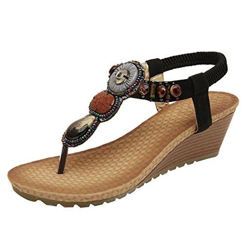 Optimale Kvinners Sommer Sandaler Rhinestone Flip Flops Strand Vintage Myke Komfortable Sko Svart