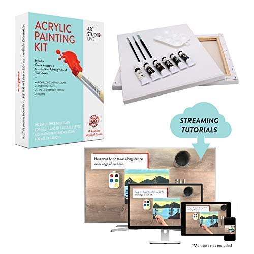 Art Studio Live Acrylic Paint Kit Including Step-by-Step Online Instructional Video | Learn to Paint Platform | Best Gift for Kids/Adults, DIY Paint Night at Home, Easily Host Your Own Paint Party.
