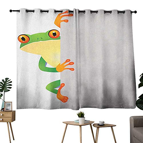 bybyhome Reptile Grommets Decor Darkening Curtains Funky Frog Prince with Big Eyes on Wall Camouflage Nursery Reptiles Theme Two Panels Green Yellow Orange W55 x L39 ()