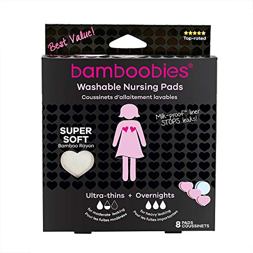 Pad Value Pack - Bamboobies Nursing Pads for Breastfeeding | Reusable Breast Pads | Perfect Baby Shower Gifts | 3 Regular and 1 Overnight Pairs