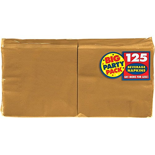 (Big Party Pack Gold Beverage Napkins | Pack of 125 | Party Supply)