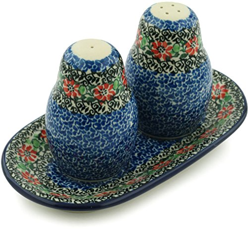 Polish Pottery Salt and Pepper 3-Piece Set made by Ceramika Artystyczna (Red Zinnia Theme) + Certificate of Authenticity