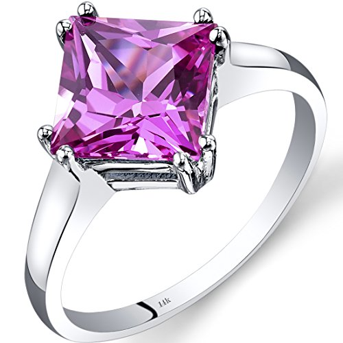 - 14K White Gold Created Pink Sapphire Solitaire Ring 3.25 Carat Princess Cut