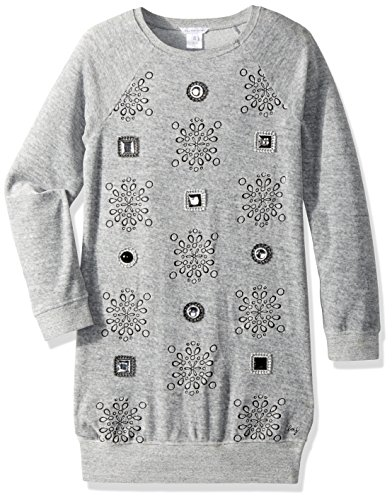 Little Marc Jacobs Girls' Velvet Dress with Cabochons and Embroidered Detail, Gris Chine, 4A by Little Marc Jacobs