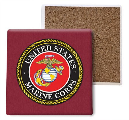 SJT ENTERPRISES, INC. United States Marines Absorbent Stone Coasters, 4-inch (4-Pack) (SJT96804)
