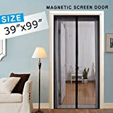 Magnetic Screen Door, Mesh Screen Curtain Full Frame Velcro, Hand Free Close Open Automatically Bugs Off Pets Friendly, Fit Door Up To 36''x98''