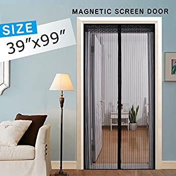 Magnetic Screen Door Mesh Curtain Full Frame Velcro Hand Free Close Open Automatically Bugs Off Pets Friendly Fit Up To 36x98
