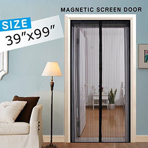 Magnetic Screen Door, Mesh Screen Curtain Full Frame Velcro, Hand Free Close Open Automatically Bugs Off Pets Friendly, Fit Door Up To 36''x98'' by IKSTAR