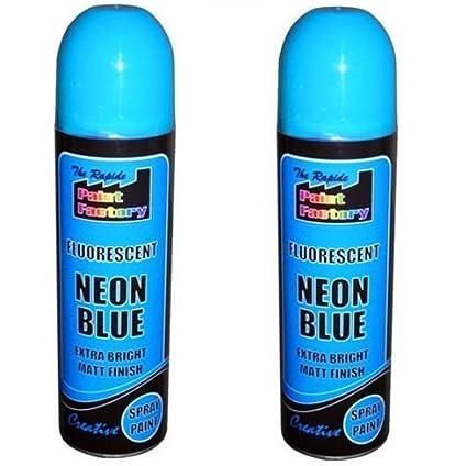 2 x azul neón fluorescentes Spray de pintura profesional ...