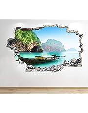 1Stop Graphics Shop Thailand strand boot muursticker 3D optiek - zee strand slaapkamer lounge Z59 - medium: 60 cm x 90 cm