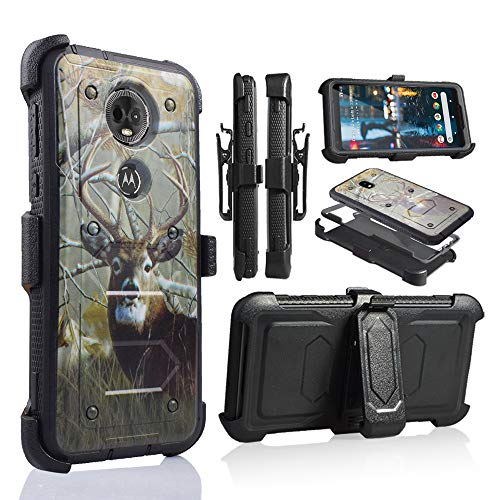 for Moto E5 Plus Case, Moto E5 Supra Case, [360 Degree Protection] Rugged Heavy Duty Case with Built-in-Screen Protector for Motorola E5 Plus (Deer)