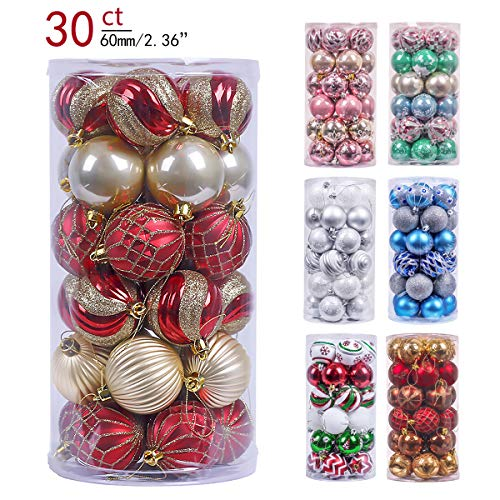 Valery Madelyn 30ct 60mm Luxury Red Gold Shatterproof Christmas Ball Ornaments Decoration,Themed Tree Skirt(Not Included) ()