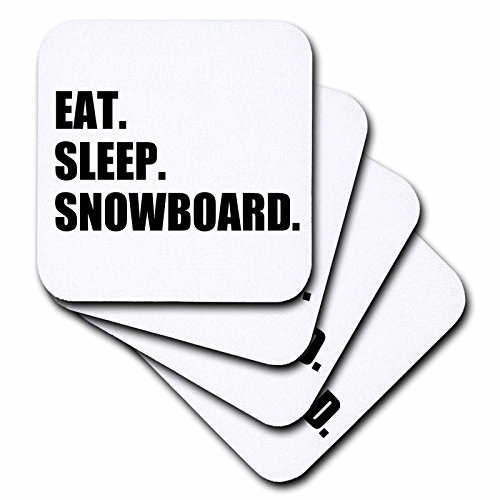 Rubber Coasters for Women Eat Sleep Snowboard Snowboarding Enthusiast Fun Snowboarder Sport Coasters Set of 4 New Home Newlyweds Present