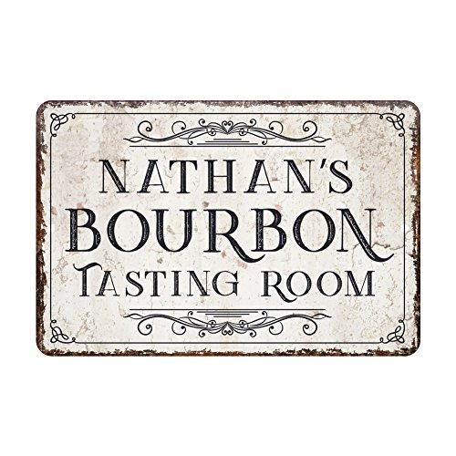 Personalized Vintage Distressed Look Bourbon Tasting Room Metal Sign