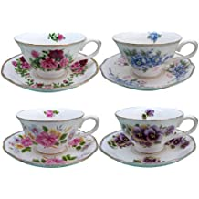 Grace Teaware Porcelain Vintage Floral Assorted 8-Ounce Tea Cup and Saucer, Set of 4