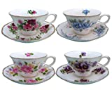 vintage floral imports - Grace Teaware Porcelain Vintage Floral Assorted 8-Ounce Tea Cup and Saucer, Set of 4