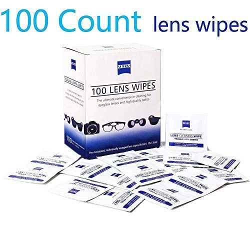 Lens Cleaning Wipes, Pre Moistened Cleansing Cloths Great for Eyeglasses, Tablets, Camera Lenses, Screens, Keyboards and Other Delicate Surfaces - 100 Individually Wrapped Wipes