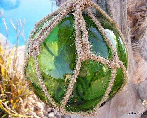 "5.5/"" Light Aqua Blue Glass Buoy Float Rope Nautical Ball Bouy Tiki Fishing"