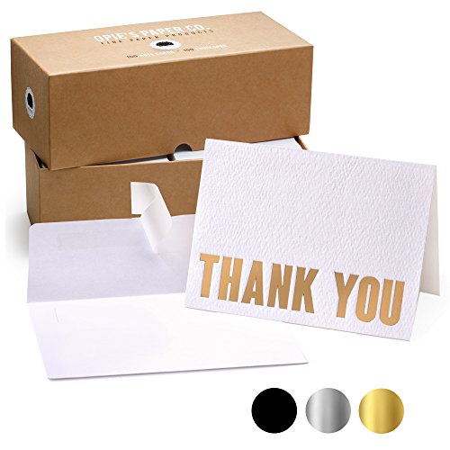 100 Letterpress Thank You Cards and Self Seal Envelopes - Opie's Paper Company (Gold) ()