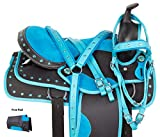 AceRugs Synthetic Saddle Set Size 14″ 15″ 16″ 17″ 18″ Blue Crystal Western Barrel Racing Trail Light Weight Horse TACK PAD