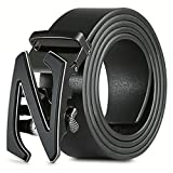 【New 2018 Version】28''-62'' Z Belts Black Leather Belts for Men with Removable Buckle Automatic Ratchet Belt