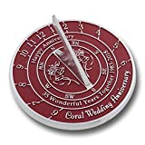 Looking For The Best 35th Coral Wedding Anniversary Gift? This Unique Sundial Gift Idea Is A Great Present For Him, For Her Or For A Couple To Celebrate 35 Years Of Marriage