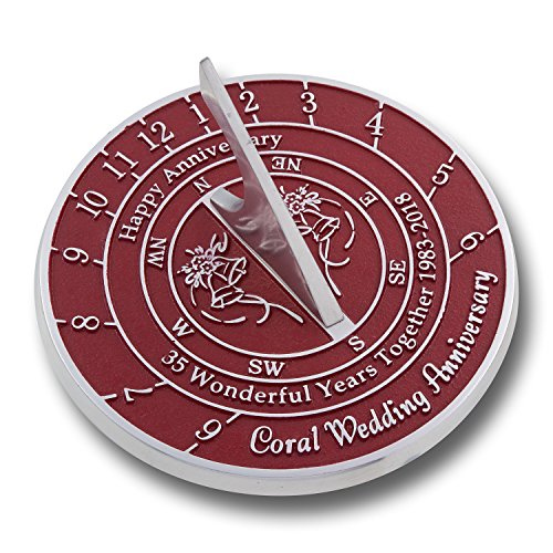 Looking For The Best 35th Coral Wedding Anniversary Gift? This Unique Sundial Gift Idea Is A Great Present For Him, For Her Or For A Couple To Celebrate 35 Years Of Marriage (Coral Anniversary Gift)