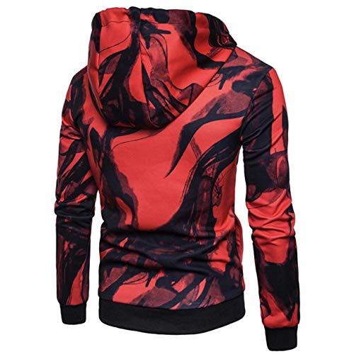 à Manches Original Sweat Pour Imprimé Longues Femme Rouge couleur Zhrui Taille Grand Capuche OBSxqg