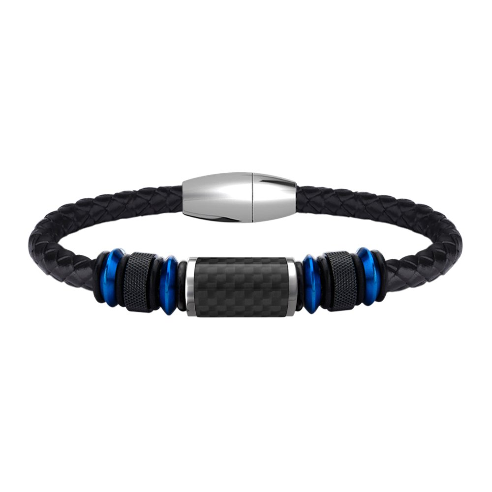 COOLMAN Leather Bracelet for Men Stainless Steel Bracelet with Carbon Fiber Bead Magnetic Clasp 8.5 inch CMSTB-2016-071-1